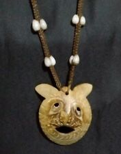 VINTAGE HAND CARVED SKULL FACE MASK TRIBAL PENDENT~WALL HANGING~Hawaii~Halloween