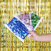1/2/3Pcs Metallic Tinsel Birthday Foil Fringe Rain Curtain Backdrop Laser Party