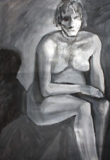 Vintage large modernist nude woman portrait gouache painting