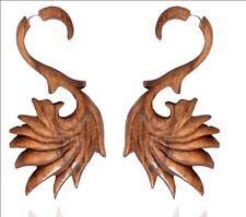 Antique Brown Wooden Handmade Swan Design Tribal Wood Fake Gauge Earring WER172