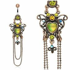 Vintage Heart Chain Bead Green Dangle Belly Ring Button Navel Surgical Steel