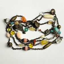 VINTAGE FAUX CORAL AND OTHER BEADS LONG  LADIES NECKLACE