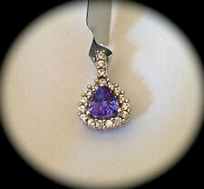 'CERTIFIED' FAB COLOUR! BEAUTIFUL AA TANZANITE 9K WHITE GOLD PENDANT - BNWT