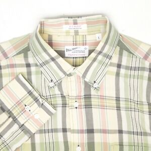 Gant Rugger Mens Shirt L Green Yellow Plaid Handloom Madras Button Down Collar