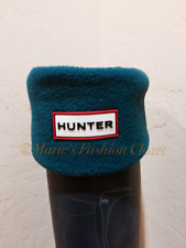 Medium 5-7 HUNTER Logo Cuff Fleece Welly Tall Rain Boot Liner Socks Teal Blue