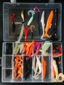 114 piece sea fishing mixed shads/lures,hooks for boat or shore