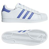 adidas ORIGINALS MEN'S SUPERSTAR TRAINERS WHITE LILAC TREFOIL SHOES SNEAKERS NEW