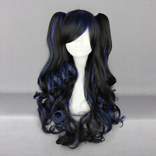 Cute Lolita Black Mixed Blue Curly Ombre Hair Cosplay Party Wig Bangs+Ponytails