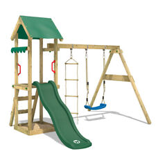 WICKEY Spielturm Kletterturm TinyCabin Garten Holz Schaukel grüne Rutsche & Dach