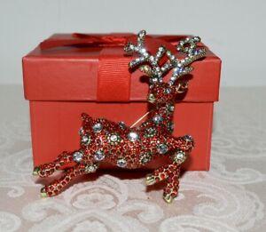 "NIB $180 HEIDI DAUS ""VIxen"" Reindeer Pin Siam Red SWAROVSKI Crystals Christmas"