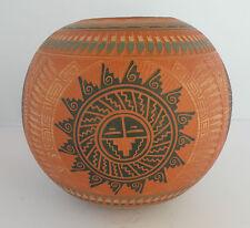 Large Navajo pot, Native American etched pottery, signed by Dewayne Eskeet