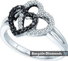 Black Diamond .25 carats 2 Hearts 14K gold ring love promise fashion