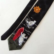 Coca Cola Bear Surfing Water Skiing Sun Surfboard Black Mens Neck Tie Black