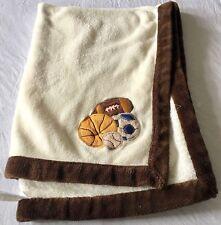Little Bedding Sports baby Blanket Soft Plush base soccer footballs brown cream
