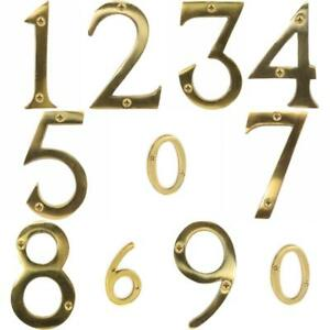 "Securit Large Solid Brass Door Numbers 3""/75 mm Polished House Flat Apartment"
