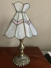 New listing Vintage Brass and Slag Glass Table Lamp Pale Pink White Panels