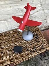 TABLE LAMP RED AEROPLANE CHROME BASE CHILDS BEDROOM