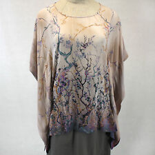 NEW NWT Citron Plus Size Pink Floral 100% Silk Georgette Tunic Blouse O/S XL 1X