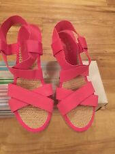 Womens Elasticated Wedge Heel Rope Espadrilles Sandals Shoes Size 4