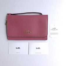 Coach * Women's Phone Wallet Wristlet F30205 IMLJV Crossgrain Pink Strawberry