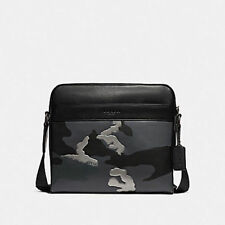 NWT Coach Charles Camera Bag w/Metallic Camo Print 32459 Grey Multi/Matte Black