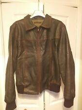 Rare Vintage Good Condition Nudie Brown Leather Jacket Size Large
