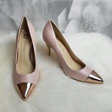 Anne Klein Women's High Heel Pumps Size 7M Gold Pointed Toe/Heel Blush Pink