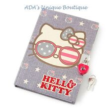 Hello Kitty Sunglasses Stars Stripes American Americana Diary w/ Lock Sanrio