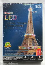New 3D LED Lighting Puzzle Eiffel Tower Architecture Model No Glue CubicFun