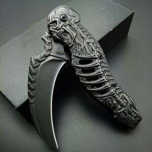 Karambit Claw Skull Folding Knife Pocket Hunting Survival Tactical Stonewashed S