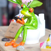 Resin Frog Figurines Pen Holder 3D Crafts Sitting Toilet Ornaments Home Decor