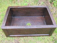Copper Farmhouse Kitchen Sink Single Well  33x22  Gauge 16  Dark patina