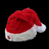 Christmas Hat Velvet Music Swing Cap Party Decoration Gift Santa Claus Hat Red