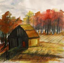 ORIGINAL Farm LANDSCAPE Watercolor Painting  JMW art John Williams Expressionism
