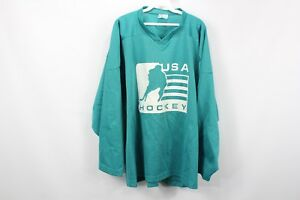 Vtg 90s Streetwear Mens XL USA Ice Hockey Spell Out Mesh Jersey Teal Polyester