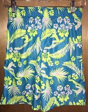 OP Boys Swimming Trunks Board Shorts 10/12 Swim Blue Yellow 10 12 Hibiscus Surf