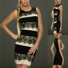 Sz M 10 12 Black Lace Khaki Sleeveless Bodycon Cocktail Party Formal Dress