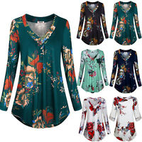 Plus Size Womens Long Sleeve V Neck Blouse T-Shirt Tunic Floral Tee Shirts Tops