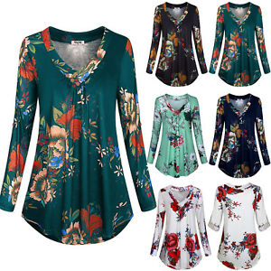 Plus Size Womens Long Sleeve Floral V Neck Shirts Top Casual Loose Tunic Blouse