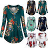 Womens Retro Floral Long Sleeve Swing Tops Casual Loose T-shirt Blouse Plus Size