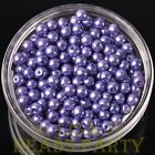 New 50pcs 6mm Round Glass Pearl Loose Spacer Beads Jewelry Making Bright Purple