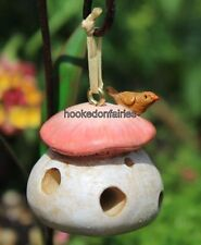 Miniature  Fairy Garden Mushroom Bird Feeder  Gnome Hobbit  Birdfeeder WS 1527