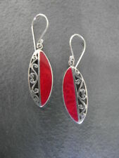 Balinese genuine 925 sterling silver and red coral half filigree earrings
