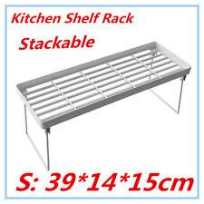 6 X Kitchen Pantry Plastic Shelf Rack Food Storage Organiser Bathroom Office FD S 39x14x15cm