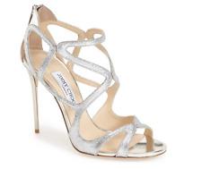 Jimmy Choo Women's Silver Strappy Leslie Sandals 6463 Sz 38 EUR