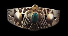 Matte Sterling Turquoise and Thunderbird Bracelet - Navajo Handmade
