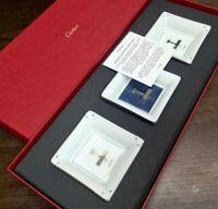 Authentic Cartier Porcelain Platinum Decorative Mini 3 Tray AIRPLANES w/Box(NEW)