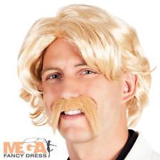 Blonde Wig & Moustache Mens Fancy Dress Celebrity TV Star 70s Adults Accessories