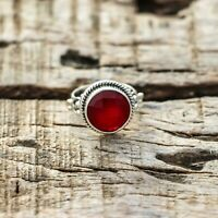 RED JADE NATURAL GEMSTONE 925 STERLING SILVER HANDMADE JEWELRY RING 3 TO 12