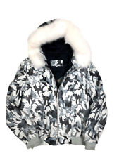 Jakewood Men's Camouflage Baseball Jacket With White Fox Fur Hood, Size 2XL